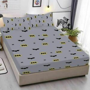 Batman Design Bed Fitted Sheet Cover Fitted Sheet & Pillowcase 3PCS Bedding set