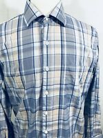 PETER MILLAR Mens Long Sleeve Button Front Shirt LARGE Blue Tan Plaid EUC