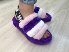 UGG Womens Flat Sandals Flatforms Faux Fur Holiday Slides Comfy Fluffy Size 7-10