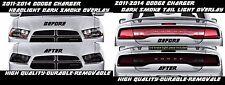 Dark Smoke Overlay Tint for 2011 - 2014 Dodge Charger Tail Light Headlight