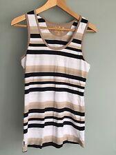 lole women's tank top size medium organic cotton white black tan stripe