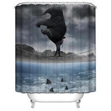 Elefante in corso su Stretti Corda Tenda da doccia bagno poliestere Ganci