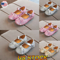 Newborn Baby Crib Toddler Girl Dance Glitter Leather Moccasins Soft Sole Shoes
