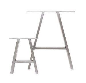 2 x Industrial A-Frame Box Section Table Legs + FREE Floor Protectors & Screws