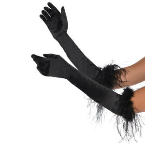 BLACK FEATHER GLOVES ELBOW LENGTH LADIES 1920'S BURLESQUE GATSBY FANCY DRESS