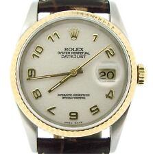 Rolex Datejust Mens 2Tone 18K Gold Steel Brown White Anniversary Arabic 16233