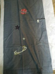 2 Pottery Barn Kids Curtains Drapes Blue Chambray Stars Planet Spaceships