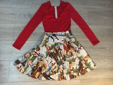 Ladies rockabilly ice skate ski skiing DRESS Party NEW Hand made Size 8-10