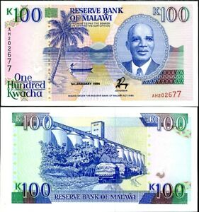 Malawi 100 Kwacha 1994 P 29 b AUNC ABOUT UNC