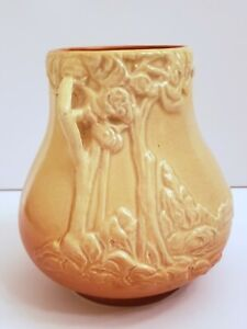 "Rare Vintage Weller Art Pottery Scenic Pattern Vase Orange 3D Raised 5.5"" tall"