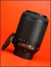Nikon AF-S VR 55-200mm f4-5.6 G DX + Lente de ED IF Frente Y Parte Trasera Lente Tapas