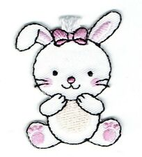 Iron On Embroidered Applique Patch - White Bunny Rabbit Sitting 1518421A