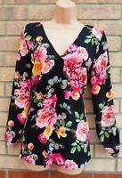 G21 BLACK PINK FLORAL V NECK LONG SLEEVE BAGGY BLOUSE T SHIRT TUNIC TOP 8 S