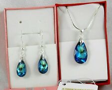 pure Silver Earrings Set Necklace plated & Swarovski crystals  dangle * Colors