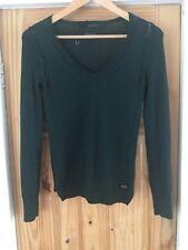 Calvin Klein 100% Extra Fine Thin Knit Merino Wool Dark Green V Jumper. S. VGC!