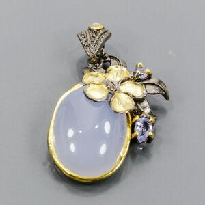 Handmade Chalcedony Pendant Silver 925 Sterling  /NP13754