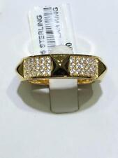 18k Gold Sterling Silver White Sapphire Pave Spike Design Eternity Band Ring Sz7