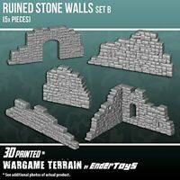 Ruined Stone Walls Set B, Terrain Scenery for Tabletop 28mm Miniatures Wargame,