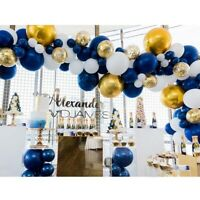 102Pcs Party Navy and Gold Balloons Navy Blue White Balloons Gold Metallic Q5B3