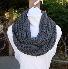 Solid Gray Infinity Scarf, Grey Loop Cowl, Soft Lightweight Crochet Knit Winter