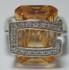 5510d8820d23 Sterling Silver 925 GUESS Sparking Orange Zirconia Logo Ring 7 Grams Size 7  New