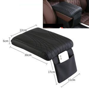 Black Universal Car Armrest Pad Cover Auto Center Console Box Pu Leather Cushion
