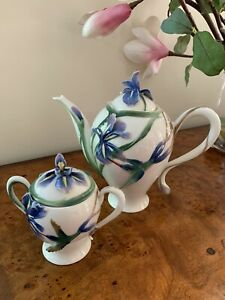 Franz Porcelain Longtail Hummingbird Teapot & Sugar Bowl With Original Boxes