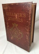 Vintage Leather Look Faux Book Box Hidden Storage Gullivers Travels Large 10x13""