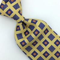 "Italo Ferretti By Brioni Tie Yellow Blue Square Flower Italy Luxury XL 61"" L0"