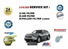 FOR INFINITI EX 30D 3.0 DIESEL 2010->  OIL AIR POLLEN FILTER SERVICE KIT 3 piece
