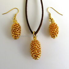 real pine cone gold leaf pendant and earring set gift boxed leaf jewellery