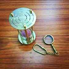 Set Of Two Vintage Antique Brass Sand Timer With Brass Magnifier Keychain