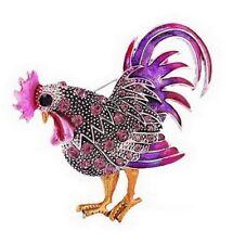 Broche motif coq avec multi cristal autrichien violet, bijou de qualité.