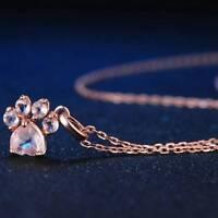 Shiny Pink Pendant Necklace Jewelry Dog Paw Print Rose Gold Small Animal Jewelry