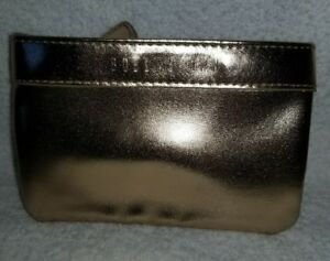 Bobbi Brown Mini Small Gold Metalic MAKEUP BAG Cosmetic Pouch Coin 5.5 x 3.5 New
