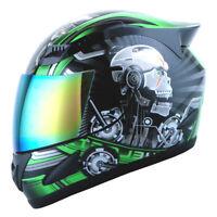 1STORM DOT MOTORCYCLE STREET BIKE FULL FACE HELMET MECHANIC WHITE SKULL GREEN
