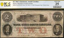 1862 $2 TWO DOLLAR SOUTH CAROLINA BANK NOTE LARGE CURRENCY PAPER MONEY PCGS 25