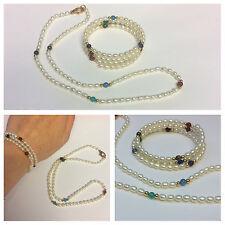 Collier e bracciale set con colorati pietre e perle di acqua dolce