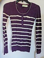 Dream Out Loud Selena Gomez Sweater Shirt Purple Junior XS purple plum strip NWT
