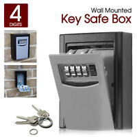 OUTDOOR HIGH SECURITY WALL MOUNTED KEY SAFE BOX CODE SECURE LOCK STORAGE 4 Digit