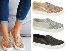 Ladies Womens Slip On Glitter Flat Skaters Pumps Plimsolls Trainers Shoes Size