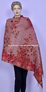 Indian Vintage Kantha Quilt Shawl Silk Sari Stole Shawl Hand Stitch Embroidered