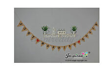 JUST MARRIED AGAIN  Hessian Burlap Vintage Banner Bunting Hen Party Rustic