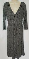 Anthropologie Maeve Womens Dress Medium Galena Black White Faux Wrap 3/4 Sleeve
