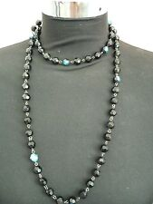 Bead Necklace Black No Closure 4 Way Wearing  Use As A Bracelet Beautiful NEW1