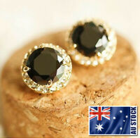 Women's 18K Gold GF 14MM Black Element Crystal Stud Earrings / Clip Earrings