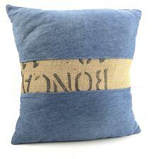 Upcycled Handmade Denim Burlap Pillow Cover Throw Boho Beach Rustic Farmhouse