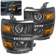 BLACK AMBER 14-16 CHEVY SILVERADO 1500 DRL LED PROJECTOR HEAD LIGHTS LAMPS FOR