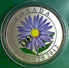 2012 CANADA 25 cent Coloured Coin - Aster & Bumblebee - coin only