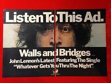 "BIG 14x22 JOHN LENNON WALLS AND BRIDGES ""LISTEN TO THIS AD"" LP ALBUM CD PROMO AD"